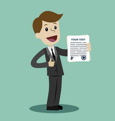 businessman or manager holding a contract or vector image