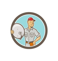 Cable TV Installer Guy Cartoon vector