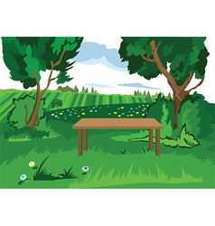 Cartoon grass trees and bench vector image