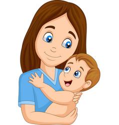 cartoon happy mother hugging her baby vector image