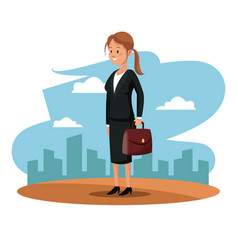 Character woman manager suit briefcase cityscape vector