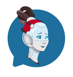 chatbot cute female robot in chat bubble icon vector image