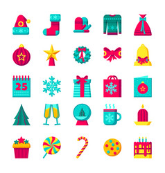 christmas icons set winter holiday vector image