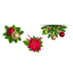 christmas labels set with holly berry vector image