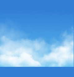 Clouds on blue sky background realistic vector