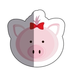 Color sticker with female pig head and middle vector