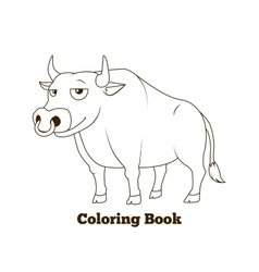 Coloring book bull cartoon educational vector image