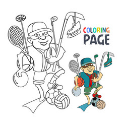 coloring page with people bring sport tool cartoon vector image