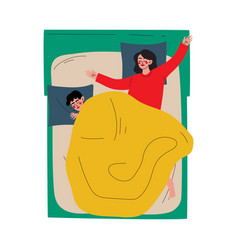 couple sleeping in bed husband and wife vector image