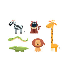 cute wild african animals set zebra monkey vector image