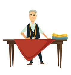 dressmaker or fashion designer measuring textile vector image