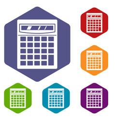 electronic calculator icons set hexagon vector image