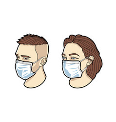 Face in mask vector