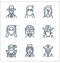 Fantastic characters line icons linear set vector