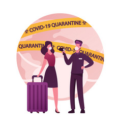 Female character with luggage going abroad man vector