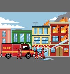 Firefighter extinguish the fire on the building vector