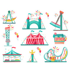 Flat set of amusement park icons funfair vector