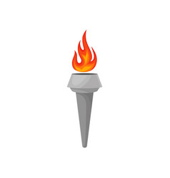 Gray torch with hot blazing fire bright red vector