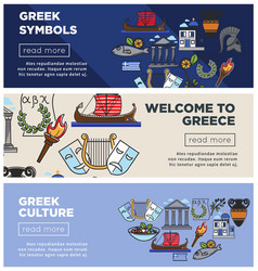 Greece travel web banners of greek sightseeings vector