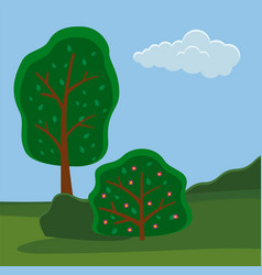 green trees on meadow background summer vector image