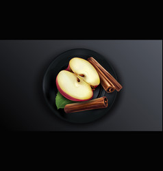 Half red apple and cinnamon sticks on a black vector
