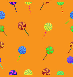 halloween lollipop candy sweet seamless pattern vector image