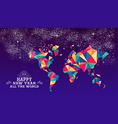 happy new year 2019 world triangle hipster color vector image