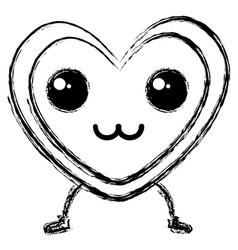 Heart love card kawaii character vector