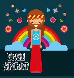hippie man rainbow flowers free spirit vector image