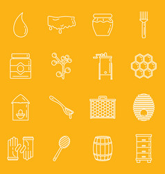 honey apiary outline icons set vector image