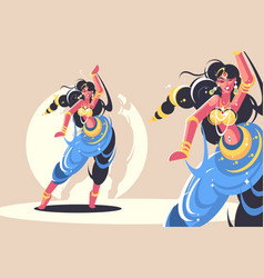 Indian girls dance vector