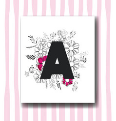 letter a with handmade font and floral decoration vector image