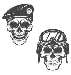 Military skulls Skull in paratrooper beret Skull vector