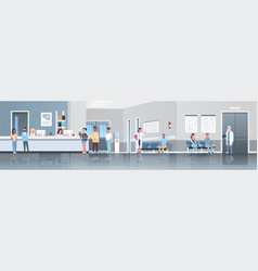 mix race patients standing line queue at hospital vector image