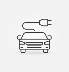 Modern electric car with plug icon vector