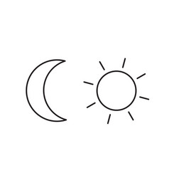 Moon and sun simple line icon vector