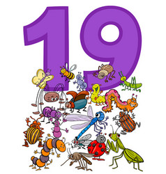 Number nineteen and cartoon insects group vector