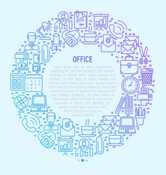 office concept in circle with thin line icons vector image
