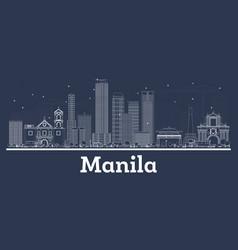Outline manila philippines city skyline vector