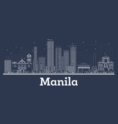 Outline manila philippines city skyline with vector