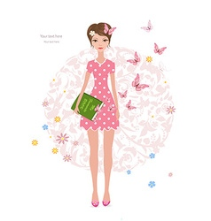 Pink butterflies flying around cute girl with a vector