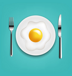 Plate with fried eggs fork and knife with mint vector