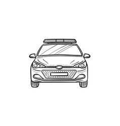 police car with siren hand drawn outline doodle vector image