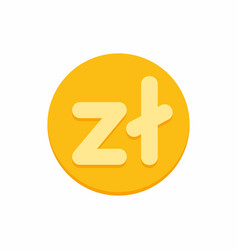 polish zloty currency symbol on gold coin vector image