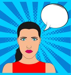 pop art girl portrait with blank speech bubble vector image