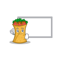 pose with board kebab wrap character cartoon vector image