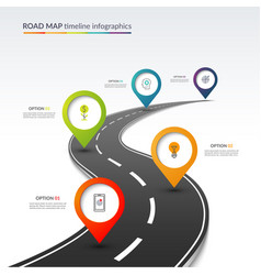 road map timeline infographic template vector image