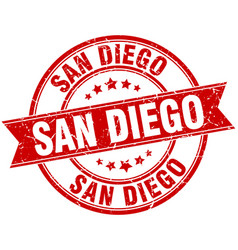 San diego red round grunge vintage ribbon stamp vector