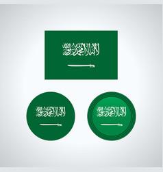 saudi arabian trio flags vector image