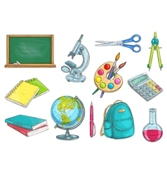 School and education isolated objects vector